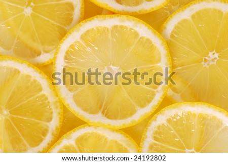 Lemon slice backgound - stock photo