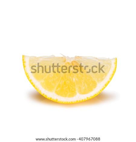 Lemon slice - isolated on white background - stock photo