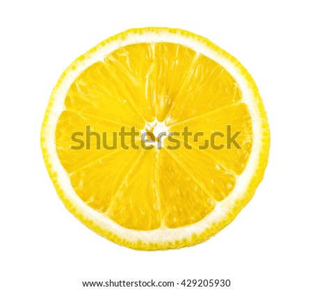 lemon slice isolated on white background - stock photo