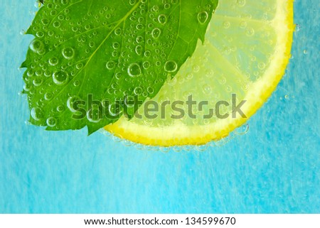 Lemon slice, mint leaf and water with bubbles - stock photo
