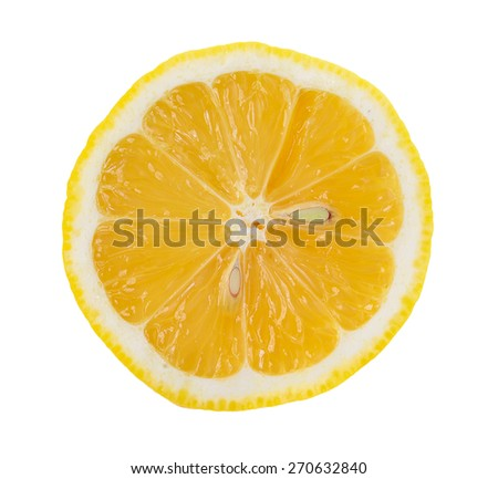 lemon slice, saved with clipping path - stock photo