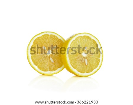 lemon slices on white background.