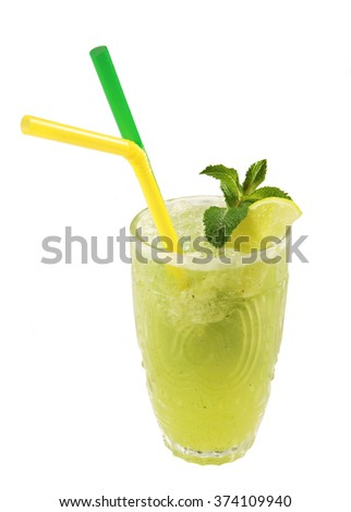 Lemon smoothie with mint on white background