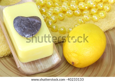 Lemon Soap and yellow accessories - body care