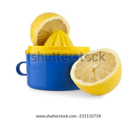 lemon squeezer on white background - stock photo