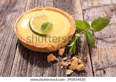 lemon tart citrus - stock photo