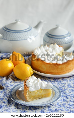 lemon tart with merengue - stock photo