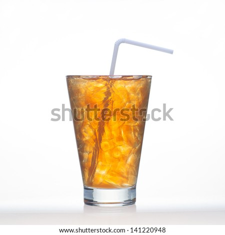 Lemon tea Thai herbal drinks with ice in glass isolated on white background