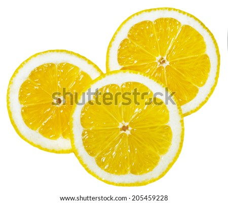 lemon wedges round - stock photo
