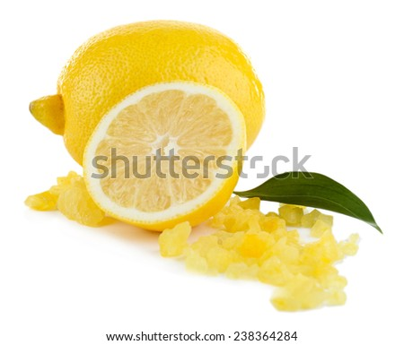 Lemon with bath salt isolated on white - stock photo