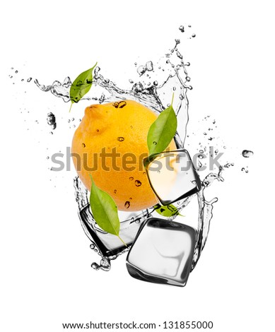 Lemon with ice cubes, isolated on white background - stock photo
