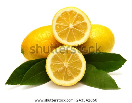 Lemon with leaves isolated on white background