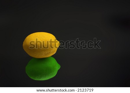 Lemon with lime reflection