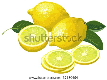 Lemon with slices. Vector version is available in portfolio.