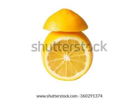 lemon yellow juicy ripe white background - stock photo