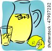 Lemonade and lemons, retro hand-drawn style. Lemon and lemon slices, pitcher and glass of lemonade - stock photo