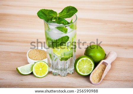 Lemonade,fresh limes and mint on wooden background