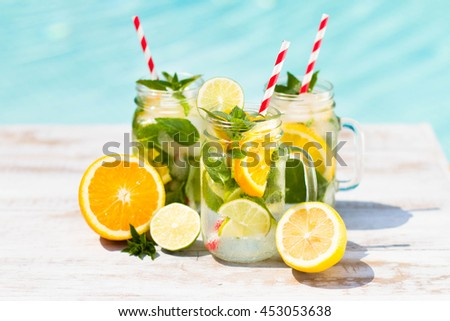 lemonade in jar with ice and mint