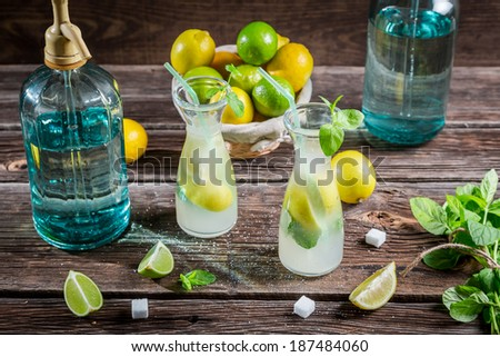 Lemonade made of fresh fruits with mint leaf