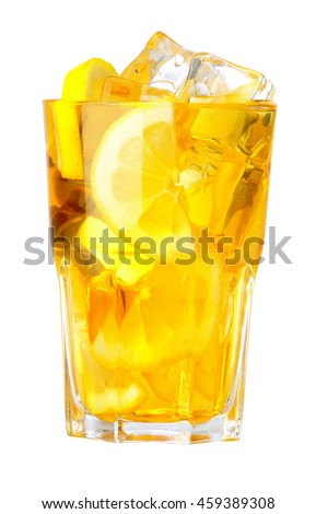 Lemonade or cocktail with ice cubes and sliced lemon isolated on white background.