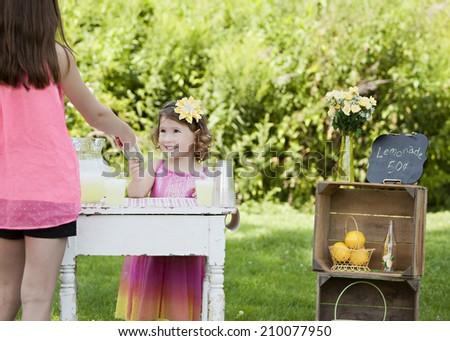 Lemonade Stand.  Adorable young girl selling lemonade.   - stock photo