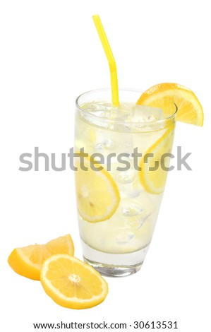 Lemonade with lemons isolated on white background with clipping path. - stock photo