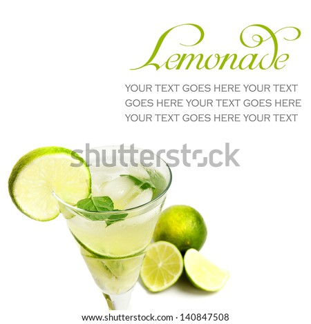 Lemonade with lime on white background, with text standing in for copy space - stock photo