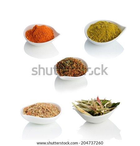 Lemongrass, cashew nut, chilli powder and Thai herb on the bowl isolated on white background. - stock photo