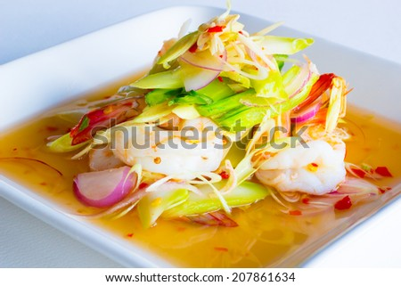 lemongrass salad with shrimp - stock photo