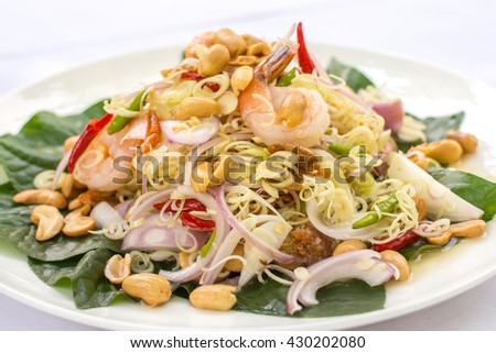 Lemongrass salad with shrimps, spicy, Thai traditional food. - stock photo