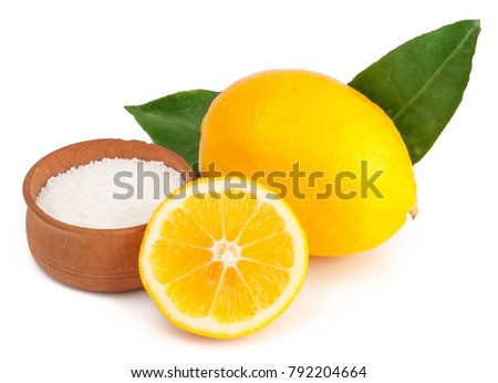 lemons and citric acid on white background