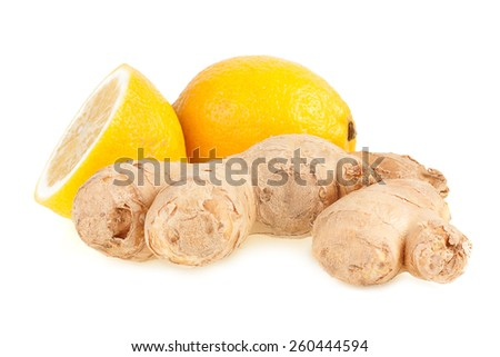 Lemons and ginger on a white background  - stock photo