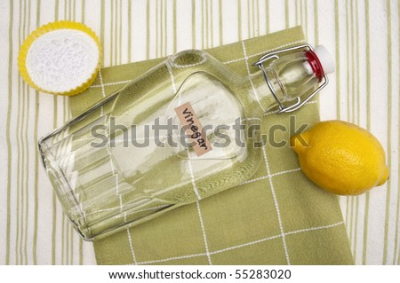 Lemons, Baking Soda and Vinegar are all Natural Environmentally Friendly Ways to Clean Your Home. - stock photo