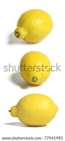 Lemons in three positions, isolated on white