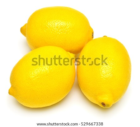 Lemons isolated on white background. Tropical fruit. Flat lay, top view