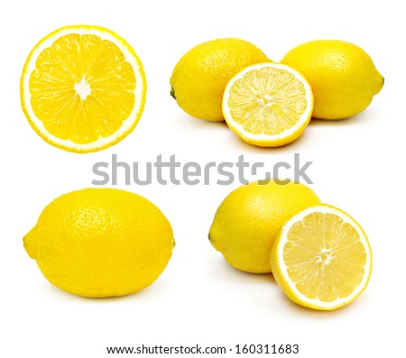Lemons set isolated on a white background