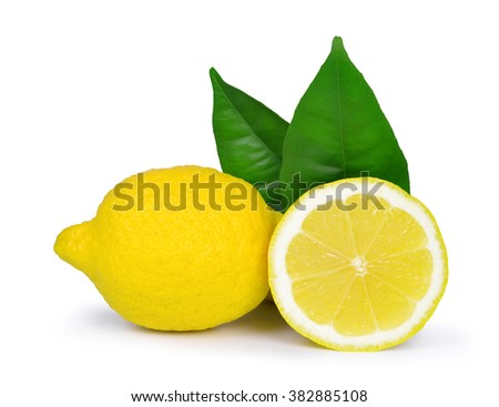 Lemons with green leaves isolated on white background - stock photo
