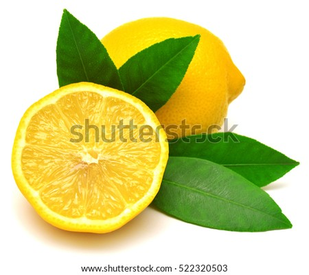 Lemons with leaves isolated on white background. Flat lay, top view