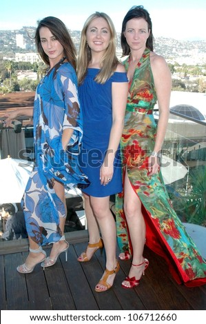 Lena Marci with Abi Ferrin and Ann Desruisseaux  at the Poolside Preview for Abi Ferrin's Spring 2009 Collection, Thompson Hotel, Beverly Hills, CA. 10-17-08