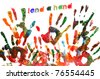 lend a hand written on a background full of handprints of different colors - stock photo