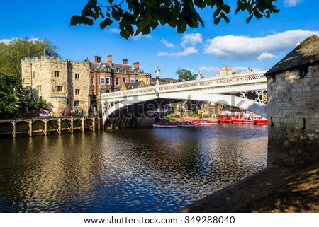 Lendal Bridge from the South Bank, looking downstream, York, Yorkshire, England, UK, 20 June, 2015 - stock photo