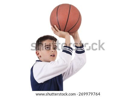 length child isolated on white with ball