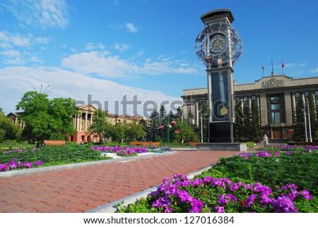 Lenin Square Krasnoyarsk - stock photo