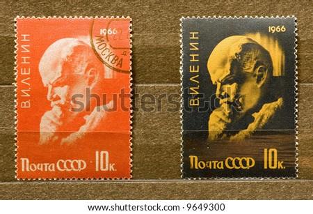 Lenin stamps - stock photo