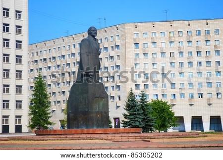 Lenin statue in Arkhangelsk, Russia - stock photo