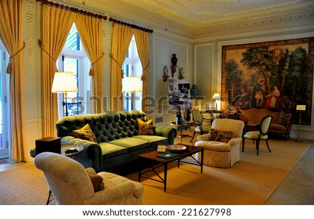 Lenox, Massachusetts - September 16, 2014:  The Ground Floor Drawing Room at The Mount, author Edith Wharton's Summer home   - stock photo