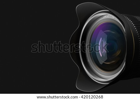 Lens at close range in the background 3D rendering. - stock photo