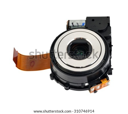 lens digital camera isolated on white background