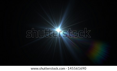 lens flare effect with rainbow - stock photo