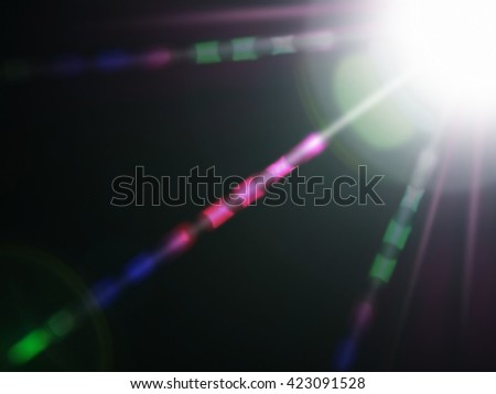 Lens flare of strong light source in the dark, abstract background